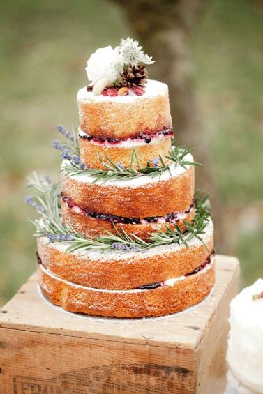 lavender naked wedding cake