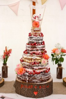 naked rustic wedding cake,rustic autumn wedding cake,naked wedding cake flower