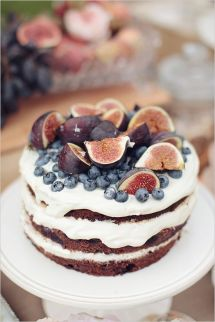blueberry fig naked wedding cake