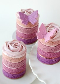 purple naked wedding cake