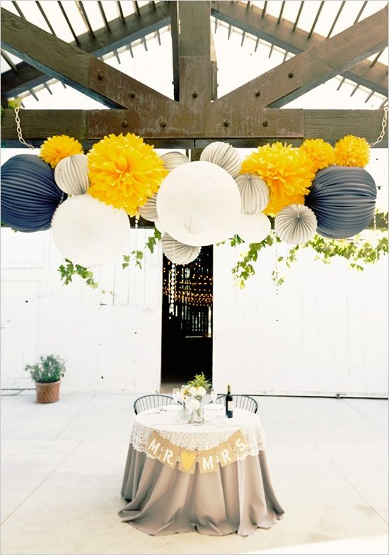 Navy Blue And Yellow Wedding Decoration Ideas
