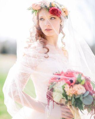 wedding flower crown veil