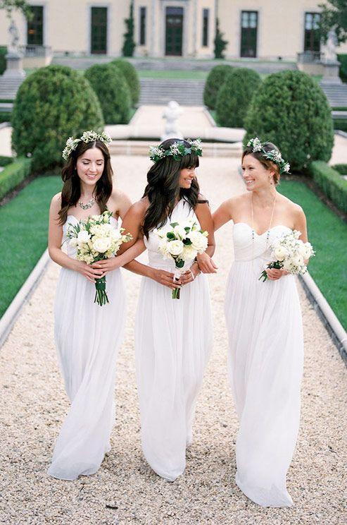 White Wedding Trends White Bridesmaid Dresses