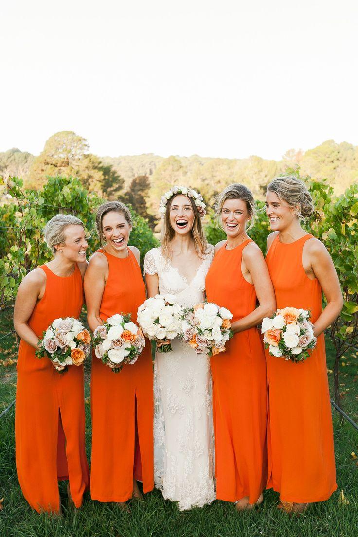 Long orange bridesmaid dresses | fabmood.com