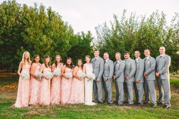 Blush and Grey Wedding Attire - Wedding in The Peach Orchard | Photography : marymargaretsmith.com | https://www.fabmood.com/a-cozy-fall-wedding-in-the-peach-orchard #peach #fallwedding