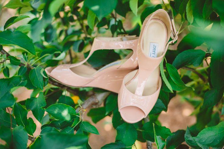 Blush Jimmy Choo bridal shoes l Wedding in The Peach Orchard | Photography : marymargaretsmith.com | https://www.fabmood.com/a-cozy-fall-wedding-in-the-peach-orchard #peach #fallwedding