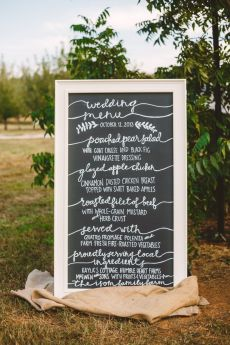 A Cozy Fall Wedding sign in The Peach Orchard | Photography : marymargaretsmith.com | https://www.fabmood.com/a-cozy-fall-wedding-in-the-peach-orchard #peach #fallwedding