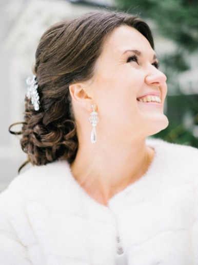 Bridal hairstyle | Light Blue Winter Wedding Read more Real Winter Weddings | fabmood.com #winterwedding