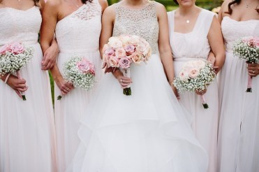 blush pink roses and gypsophila for the bouquets , bridesmaid's bouquets | Bride and white bridesmaid dresses for June Wedding | fabmood.com #bridesmaids #whitebridesmaids #whitebridesmaiddresses