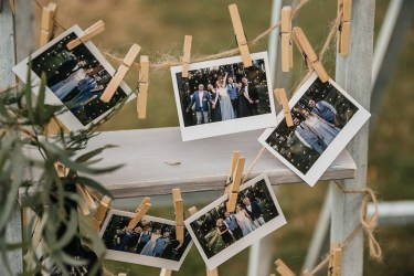 Misty gray color theme - Polaroid Wedding photo dispay | fabmood.com #weddingdecor #weddingreceptiondecor
