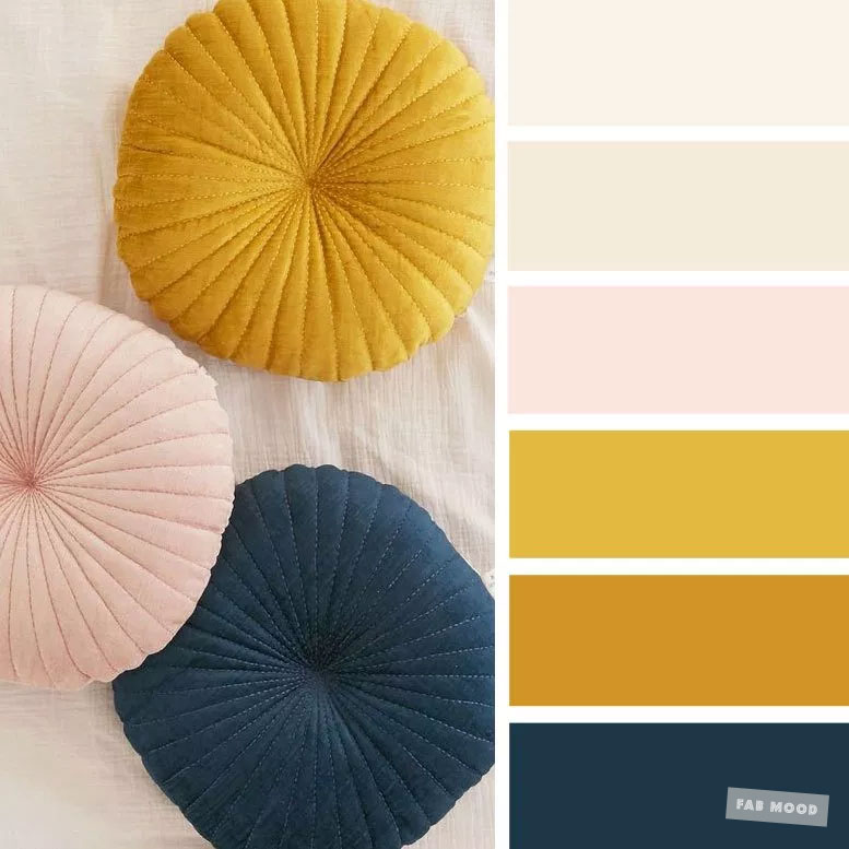 Color inspiration : Blush + Mustard + Navy Blue & Taupe #color #palette #blush #inspiration