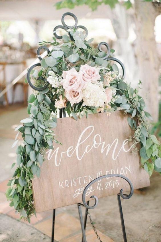 Welcome wooden sign -garden wedding - Spring wedding , blush wedding color #color #blush wedding theme, blush wedding colour ideas #weddingideas