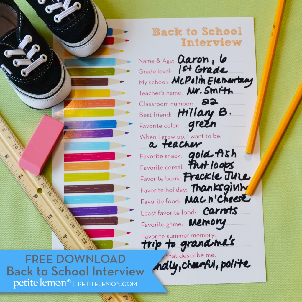 Another Free Back To School Interview Printable
