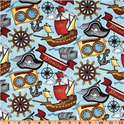 Ahoy Mates Pirate Tossed Blue Fabric