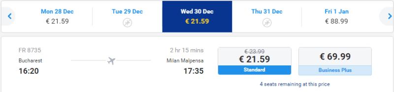 Zboruri de Revelion Milano - Bucuresti