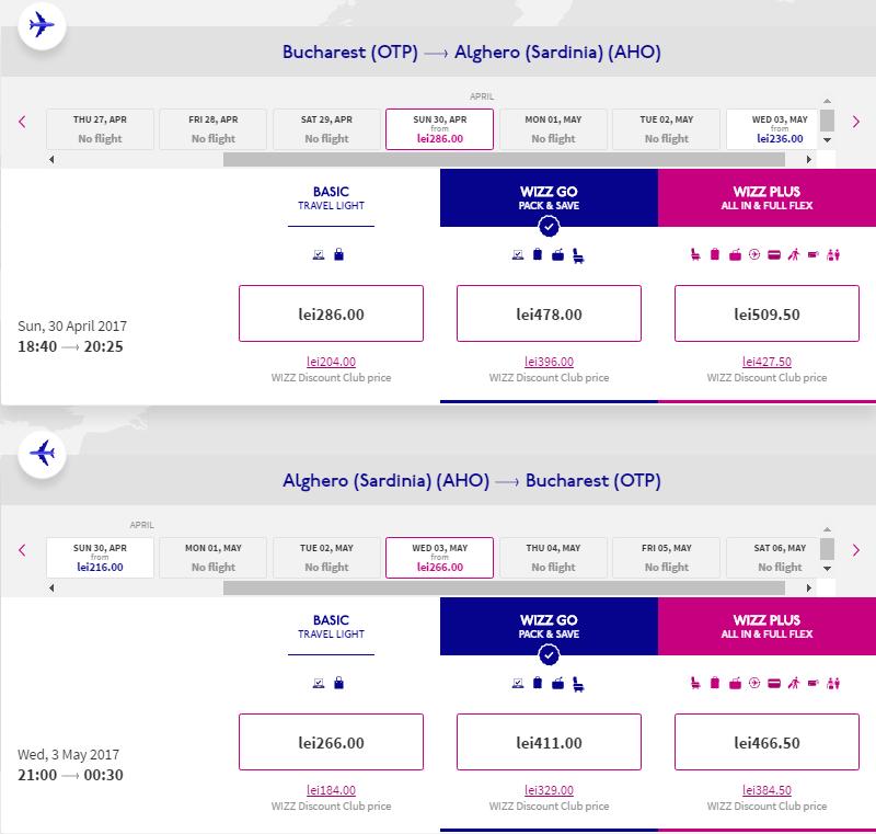Zboruri București-Sardinia-București