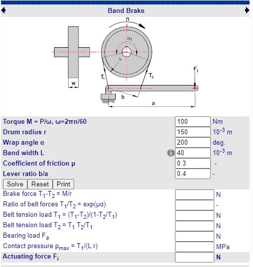 Fabricadoprojeto calculos Mecanicos Online Calculo Cinta de freio