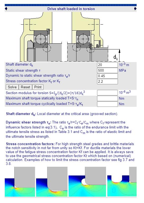 Fabricadoprojeto calculos Mecanicos Online Torque maximo eixo ranhurados