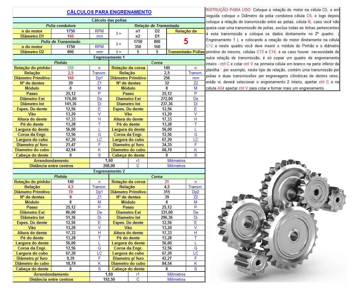 Calculo engrenagens Fabrica do projeto 1