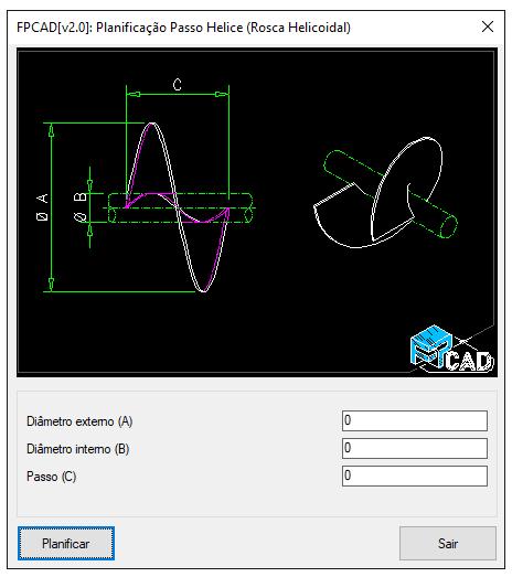 [FPCAD V2.0] Planificação de passo de rosca helicoidal