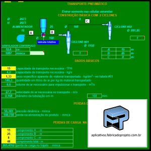 Aplicativos FP N3: Planilha para calculo e seleção de sistema transporte pneumático