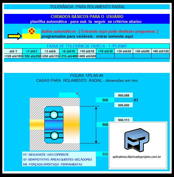 Aplicativos FP N3: Planilha para seleção de tolerância na montagem de rolamentos radiais