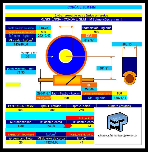 Planilha para Calculo e Seleção de transmissão por Coroa Sem-im