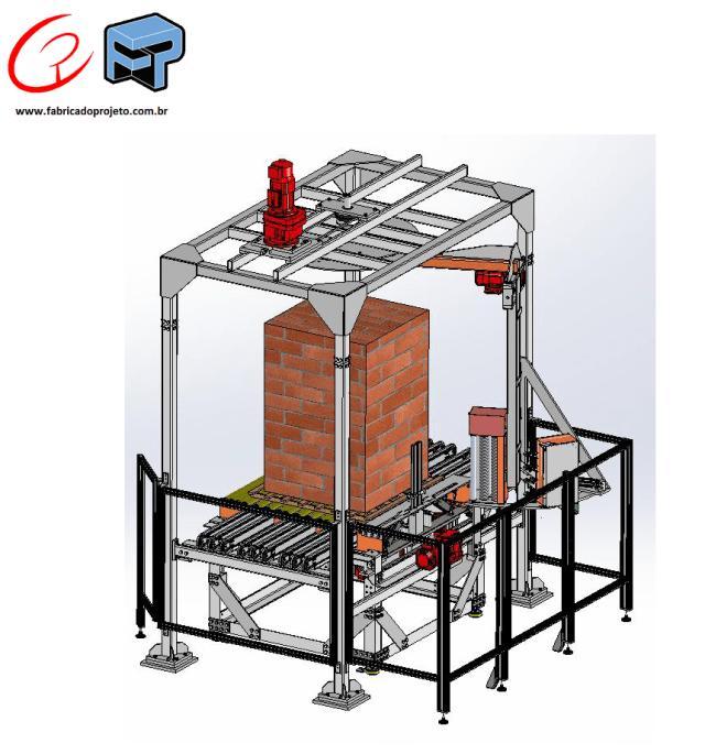 projeto mecanico completo sistema de paletizacao automatica artefatos de concreto fabricadoprojeto