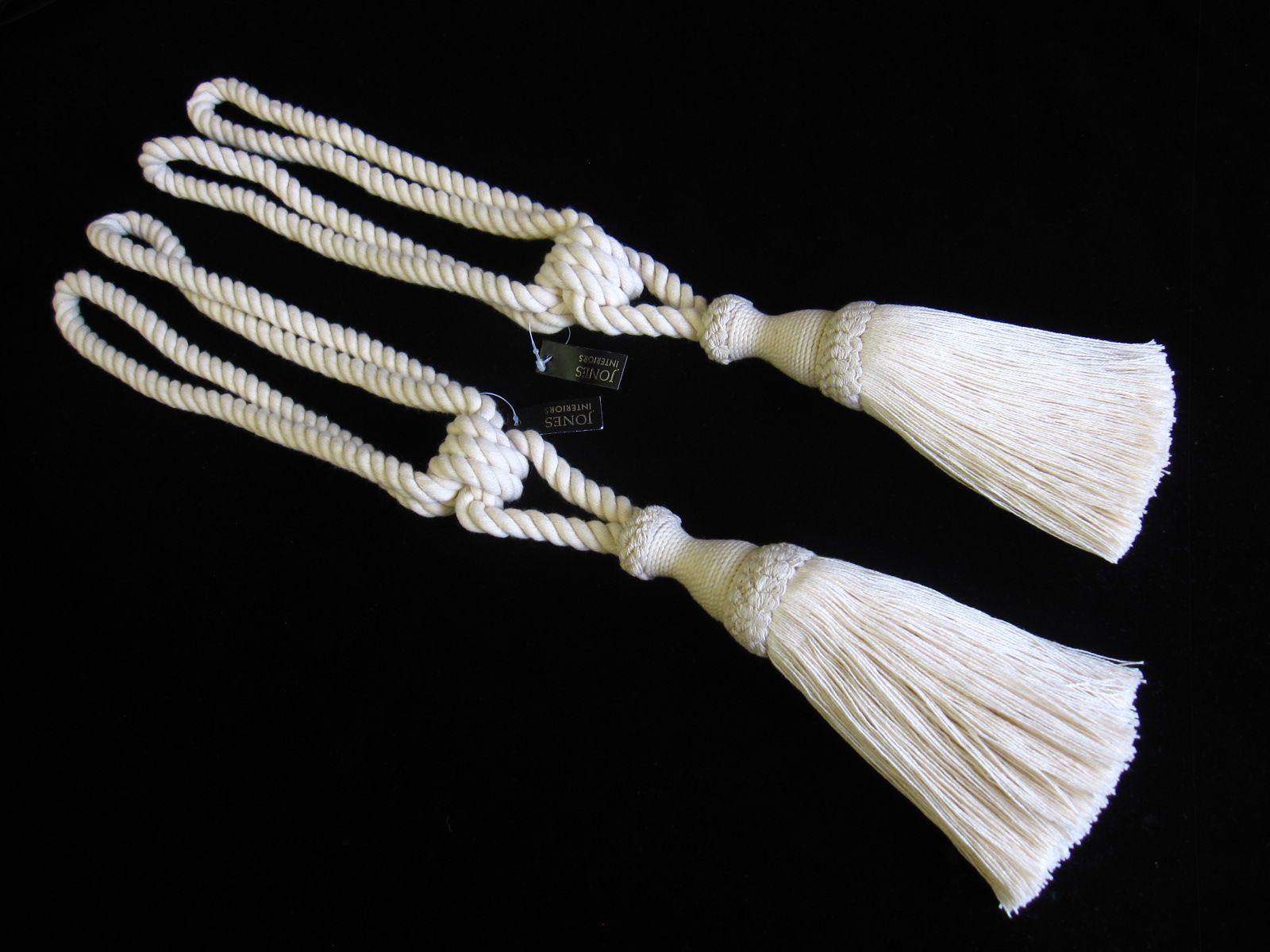 2 Natural Cotton Curtain Tiebacks Jones Interiors Cream Tie Backs Ropes Ties