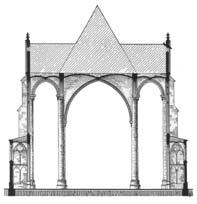 Coupe transversale montrant les trois nefs de même hauteur.