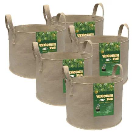 VIVOSUN 5-Pack 10 Gallon Heavy Duty Non-Woven Fabric Pots