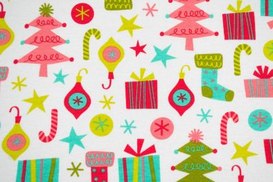 Cotton Spandex Holiday Pink Trees And Stockings