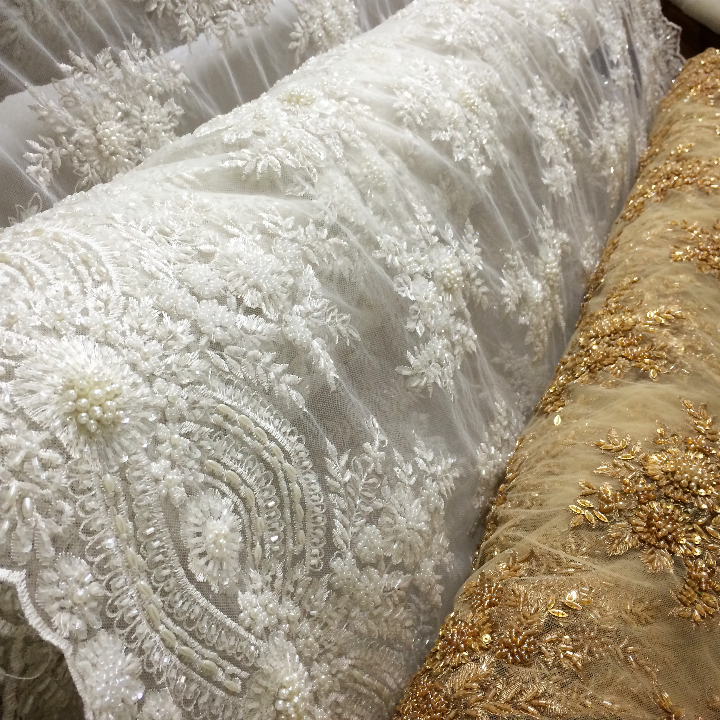 New beaded bridal laces fabric outlet sf for Bridal fabric