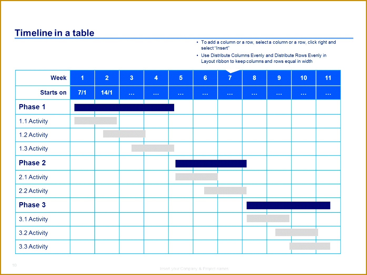 4 Company Project Timeline Template