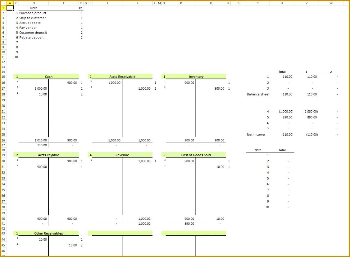 10 Excel Bookkeeping Worksheet Template