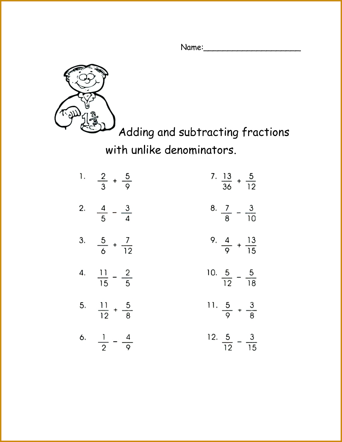 6 Adding Fractions With Unlike Denominators Worksheets