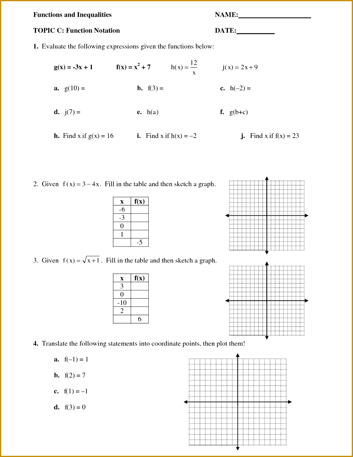 3 Algebra 1 Function Notation Worksheet