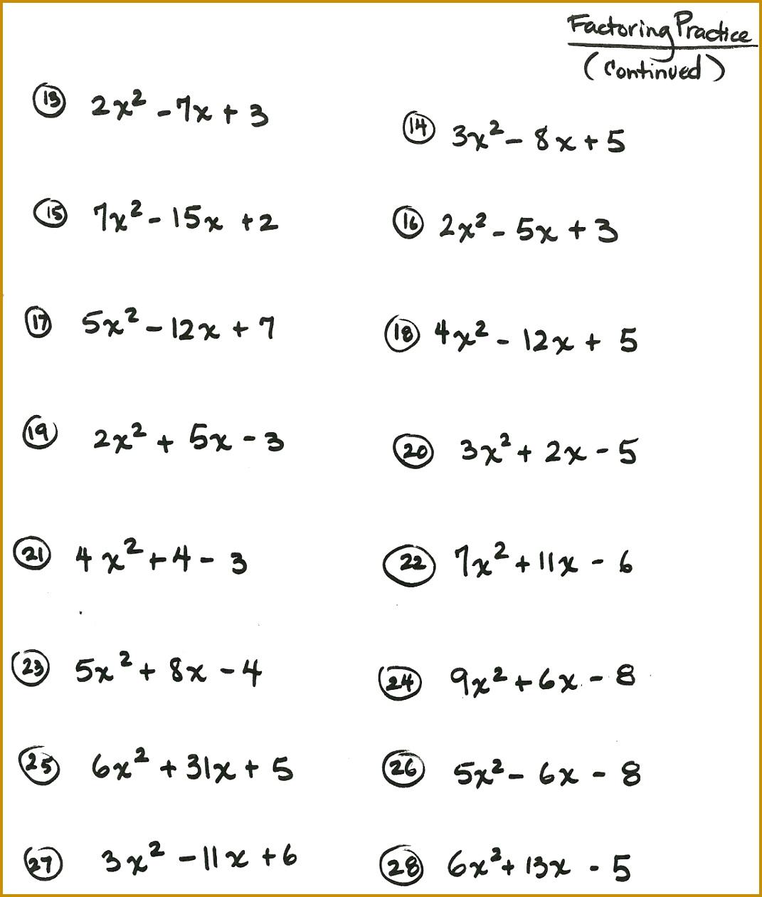 5 Algebraic Expressions Worksheets