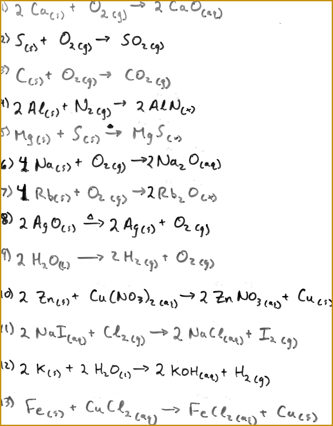 4 Balancing Chemical Equations Worksheet Answers