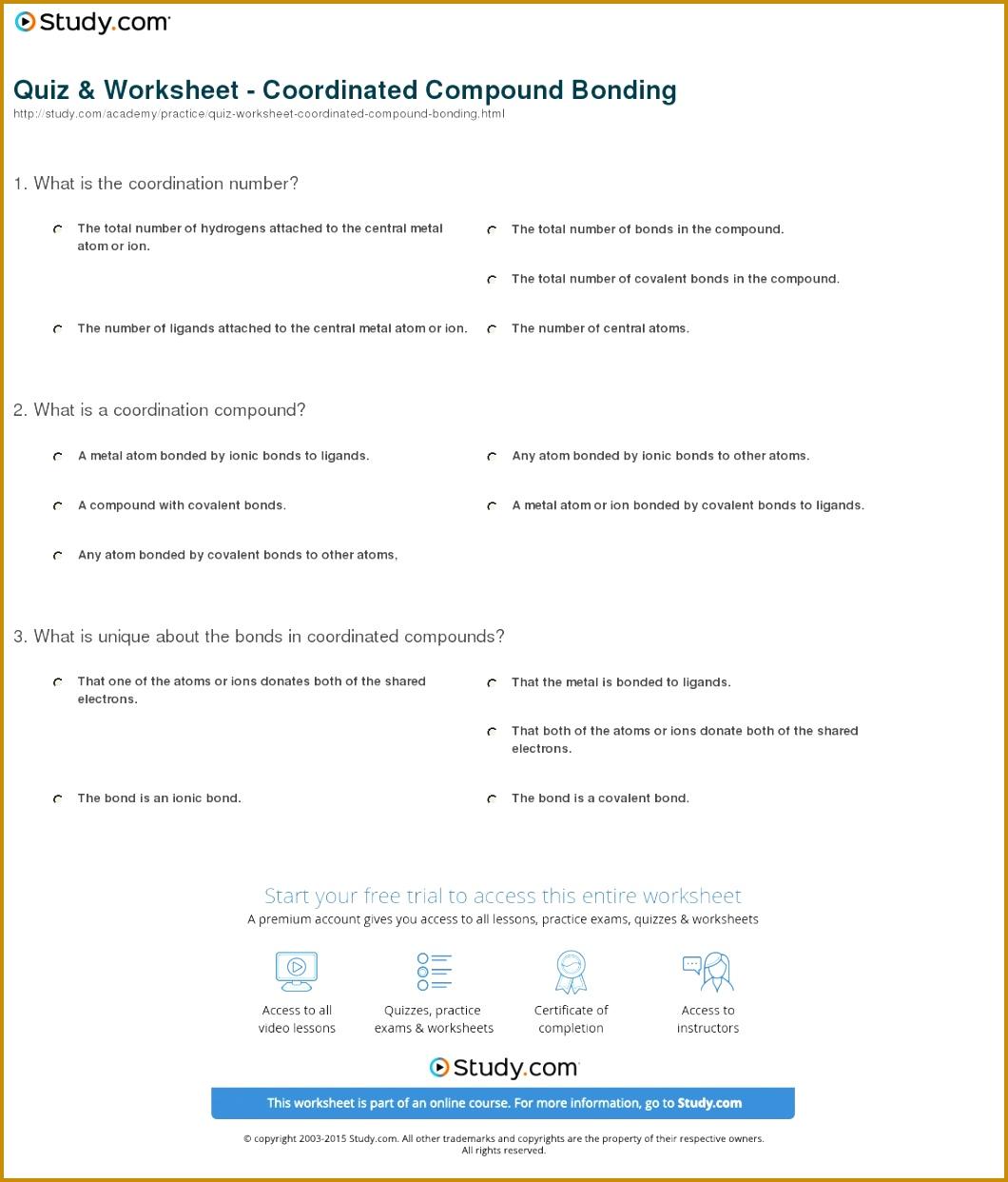 4 Chemical Bonding Worksheet Answers