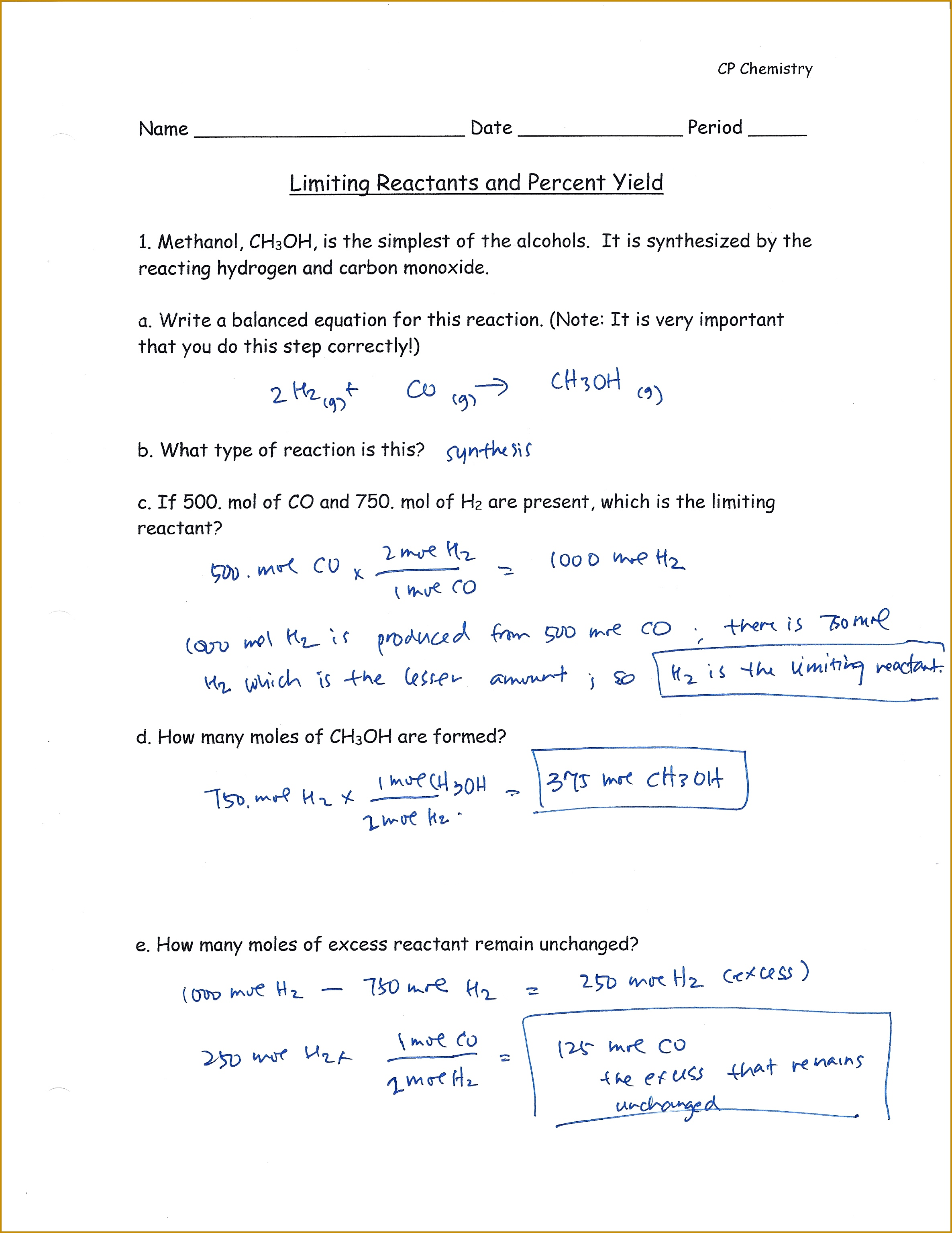 7 Chemistry Worksheet Limiting Reactant Worksheet 1
