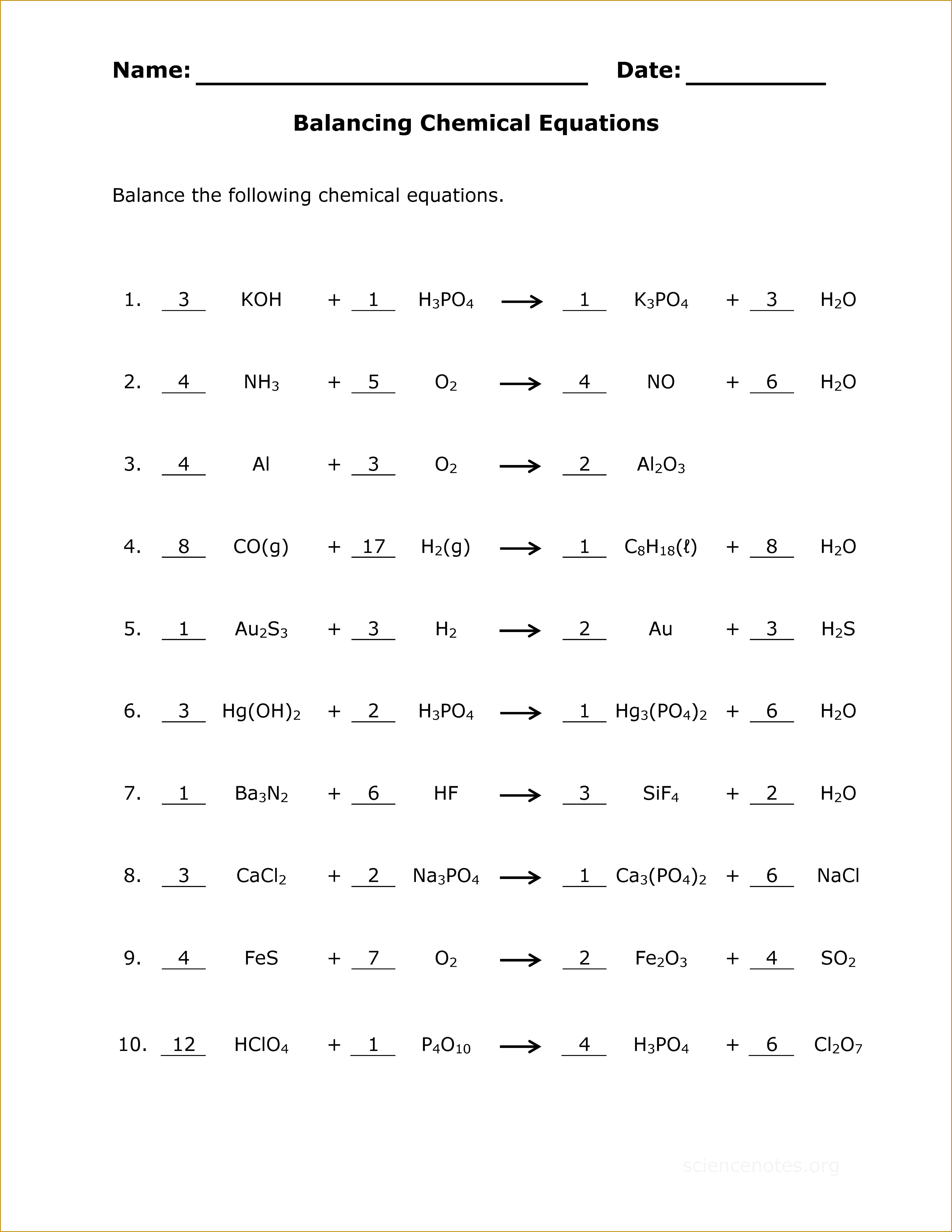 5 Chemistry Worksheets