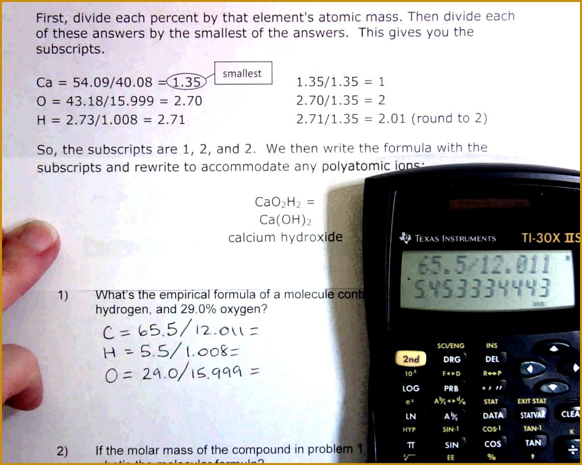 4 Empirical And Molecular Formula Worksheet