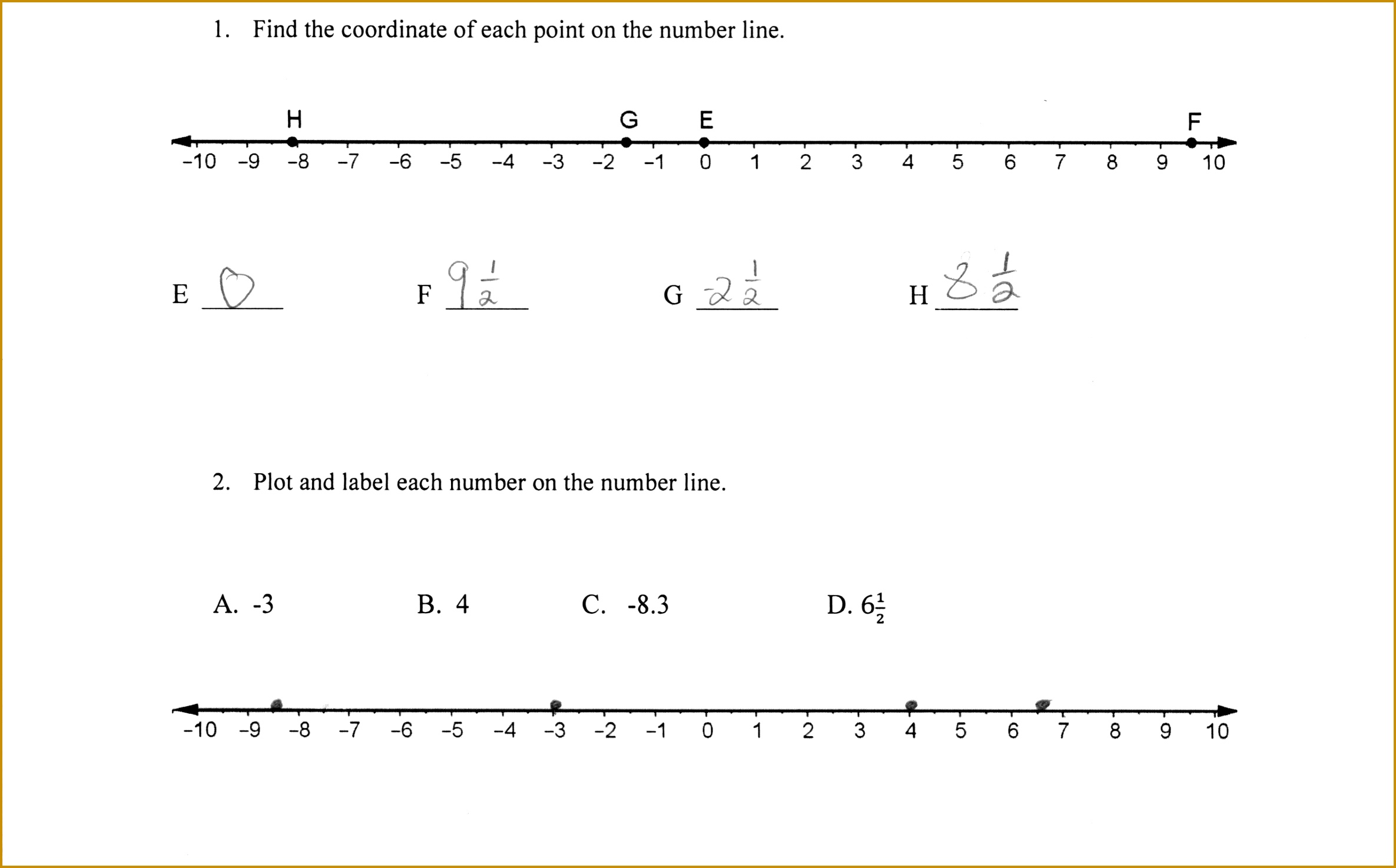 3 Fractions On A Number Line Worksheet 3rd Grade