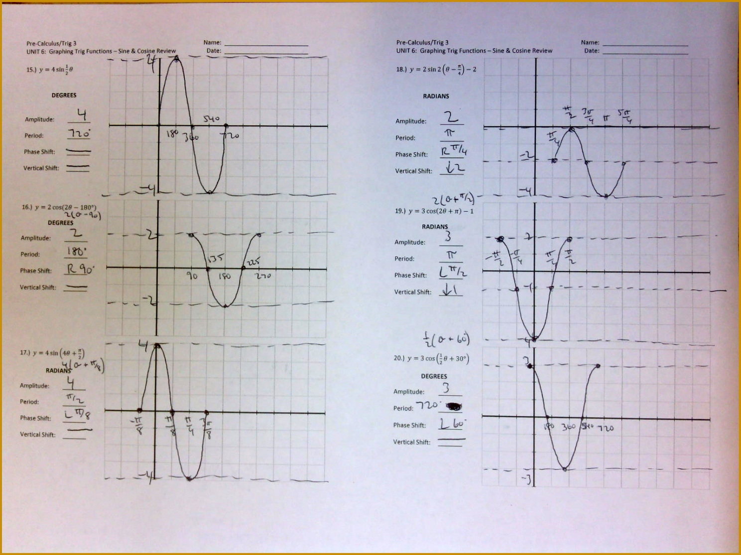 3 Graphing Trig Functions Worksheet With Answers