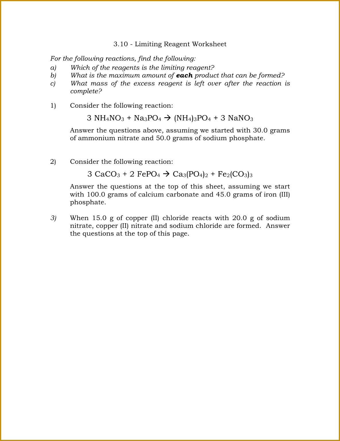 4 Limiting Reactant Worksheet