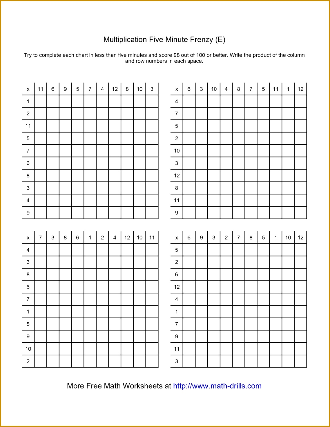 3 Math Multiplication Worksheets
