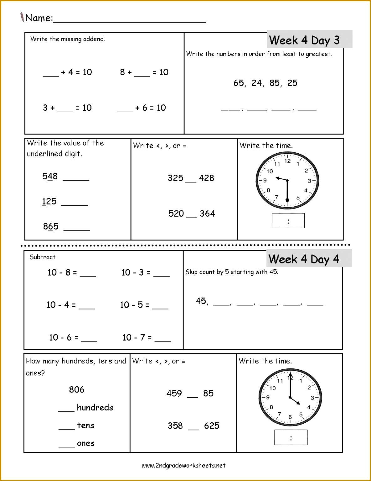 5 Math Worksheets For 2nd Grade