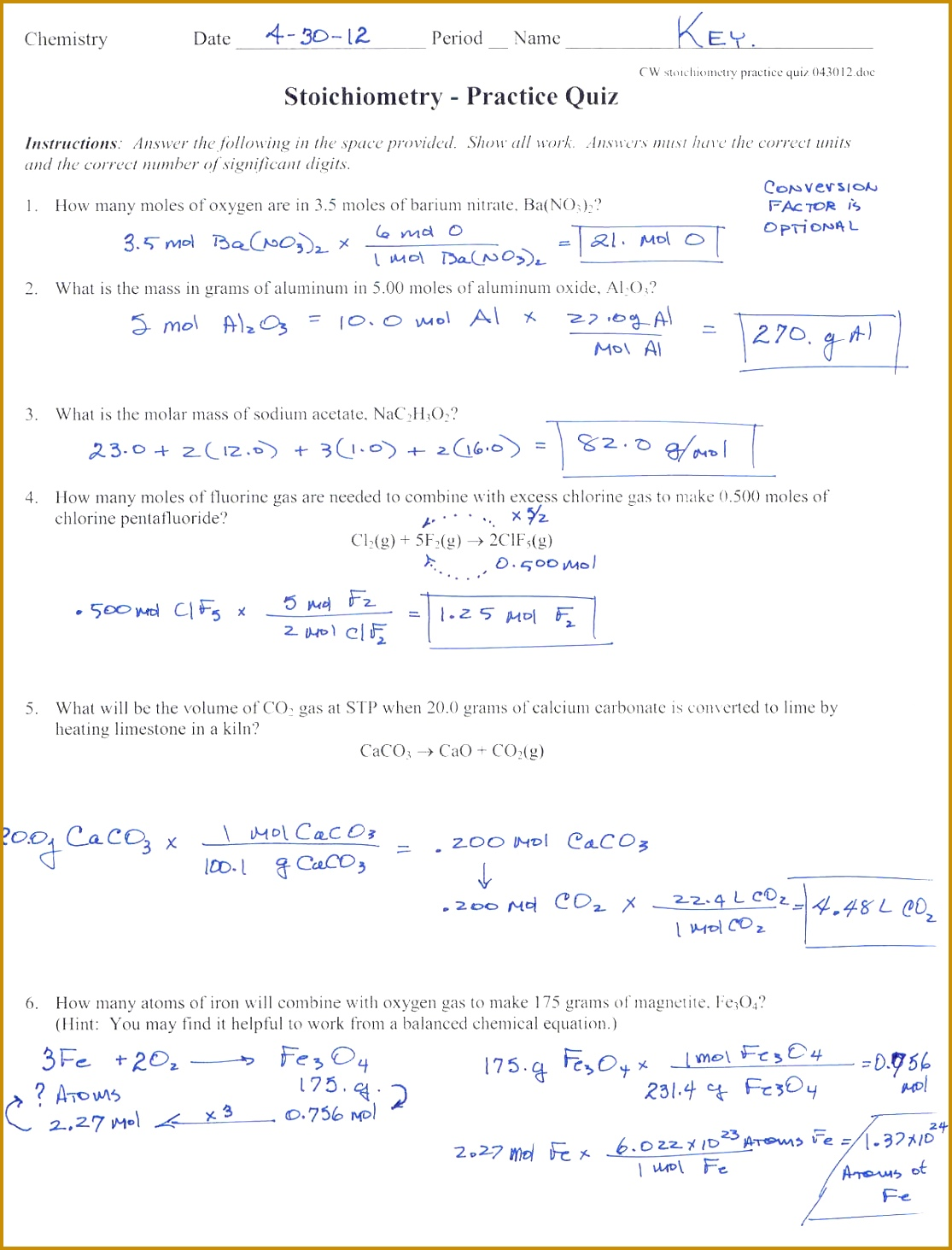 3 Mole Ratio Worksheet