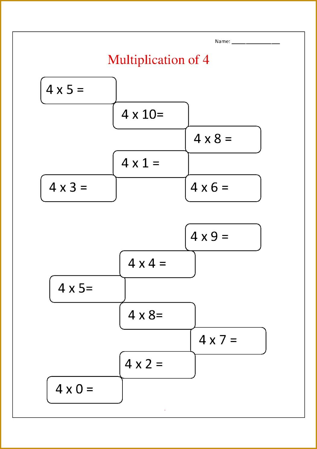 5 Multiplication Facts Worksheet